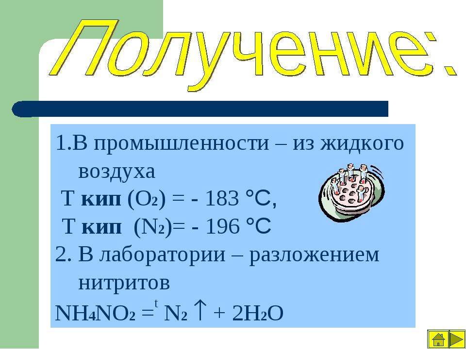1.В промышленности – из жидкого воздуха Т кип (О2) = - 183 °C, Т кип (N2)= -...