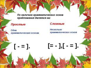 По наличию грамматических основ предложения делятся на: Простые Одна граммати