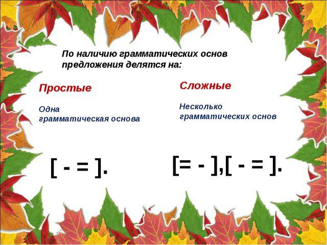 По наличию грамматических основ предложения делятся на: Простые Одна граммати...