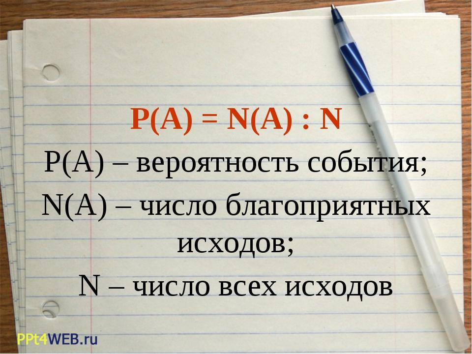 P(A) = N(A) : N P(A) – вероятность события; N(A) – число благоприятных исходо...