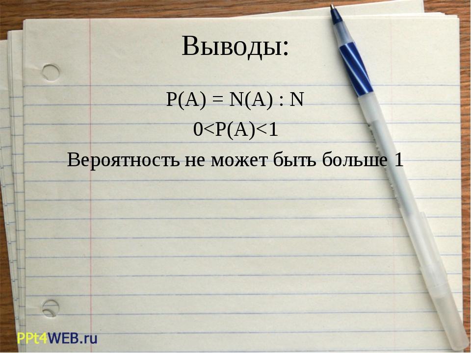 Выводы: P(A) = N(A) : N 0