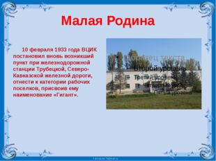 Малая Родина 10 февраля 1933 года ВЦИК постановил вновь возникший пункт при ж