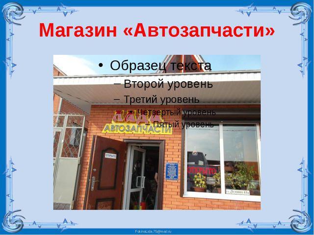 Магазин «Автозапчасти» FokinaLida.75@mail.ru