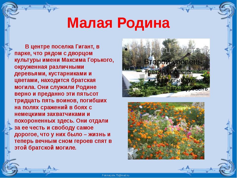 Малая Родина В центре поселка Гигант, в парке, что рядом с дворцом культуры и...