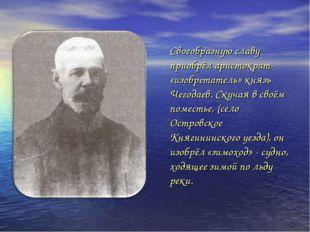 Своеобразную славу приобрёл аристократ- «изобретатель» князь Чегодаев. Скучая