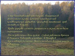 Умер Чегодаев перед революцией. Похоронен в фамильном склепе, который находи