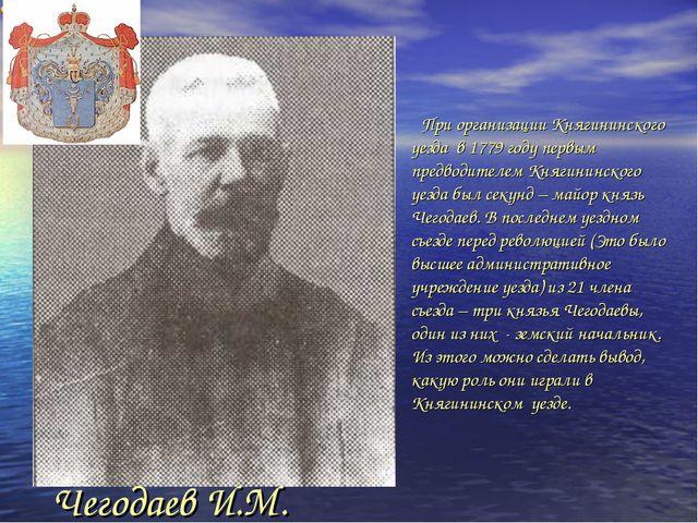 При организации Княгининского уезда в 1779 году первым предводителем Княгини...