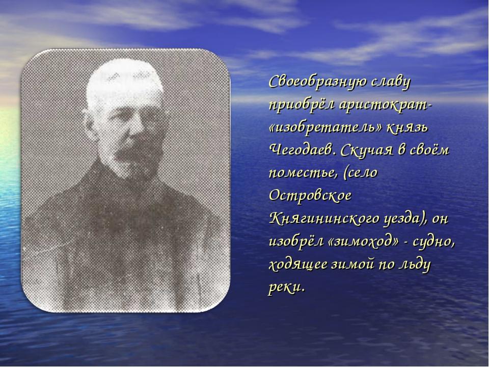 Своеобразную славу приобрёл аристократ- «изобретатель» князь Чегодаев. Скучая...