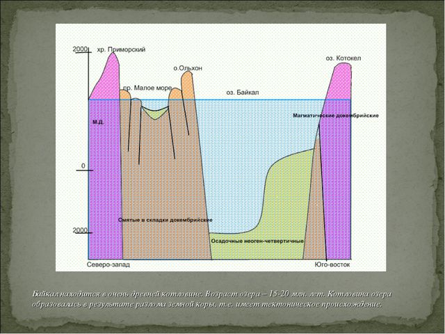 Байкал находится в очень древней котловине. Возраст озера – 15-20 млн. лет. К...