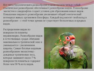 Все типы биологического разнообразиявзаимосвязаны между собой: генетическое