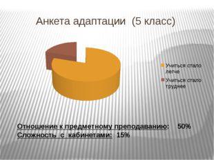 Анкета адаптации (5 класс) Отношение к предметному преподаванию: 50% Сложнос