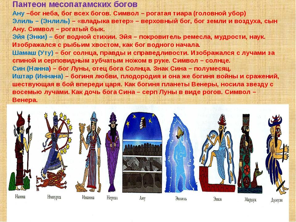Пантеон месопатамских богов Ану –бог неба, бог всех богов. Символ – рогатая т...