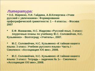 Литература: О.Е. Жиренко, Л.И. Гайдина, А.В.Кочергина «Учим русский с увлече