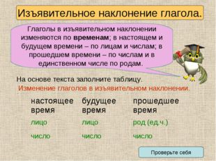 Изъявительное наклонение глагола. Глаголы в изъявительном наклонении изменяют