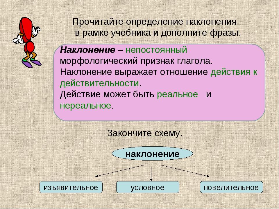Наклонение – …. морфологический признак глагола. Наклонение выражает отношени...