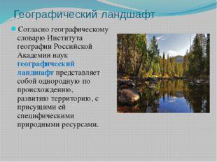 Географический ландшафт Согласно географическому словарю Института географии