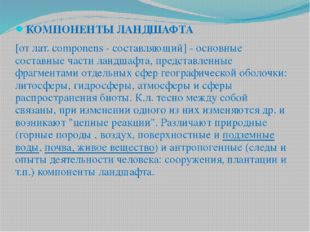 КОМПОНЕНТЫ ЛАНДШАФТА [от лат. componens - составляющий] - основные составные