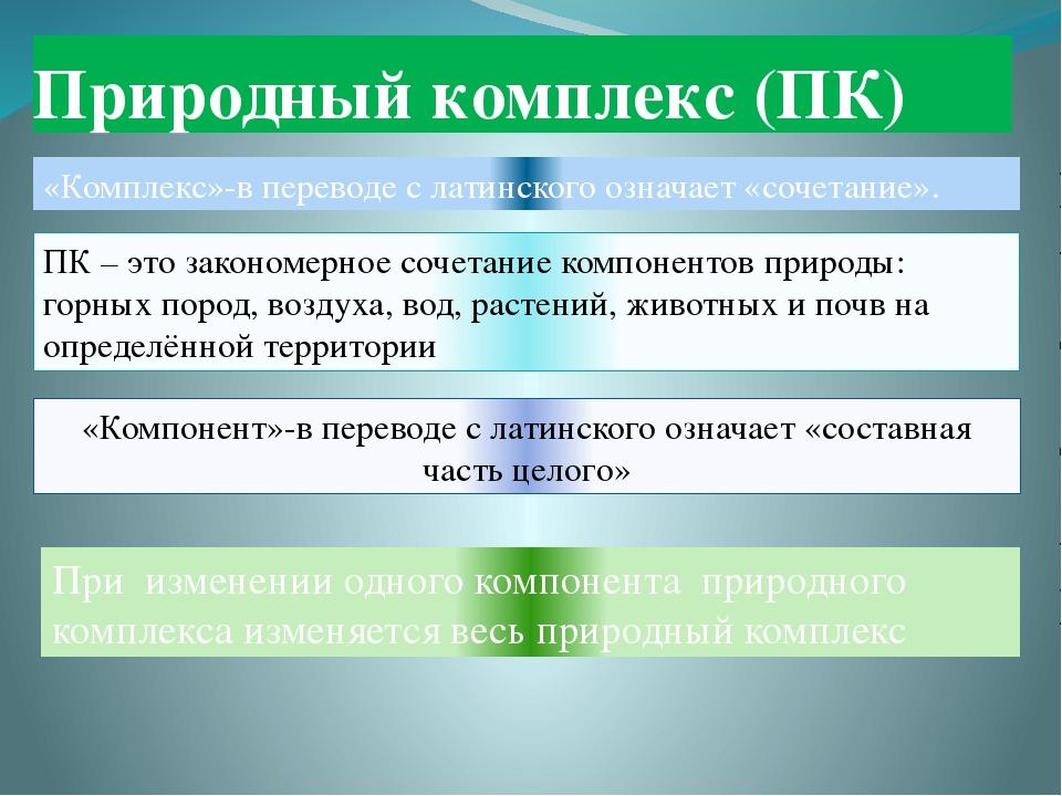Природный комплекс (ПК) «Комплекс»-в переводе с латинского означает «сочетани...