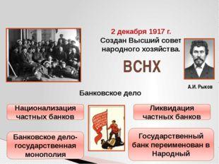 А.И. Рыков 2 декабря 1917 г. Создан Высший совет народного хозяйства. ВСНХ Ба