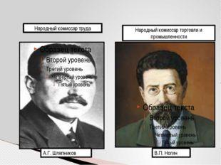 А.Г. Шляпников В.П. Ногин Народный комиссар торговли и промышленности Народны