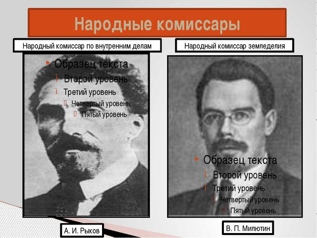 Народные комиссары А. И. Рыков В. П. Милютин Народный комиссар по внутренним...