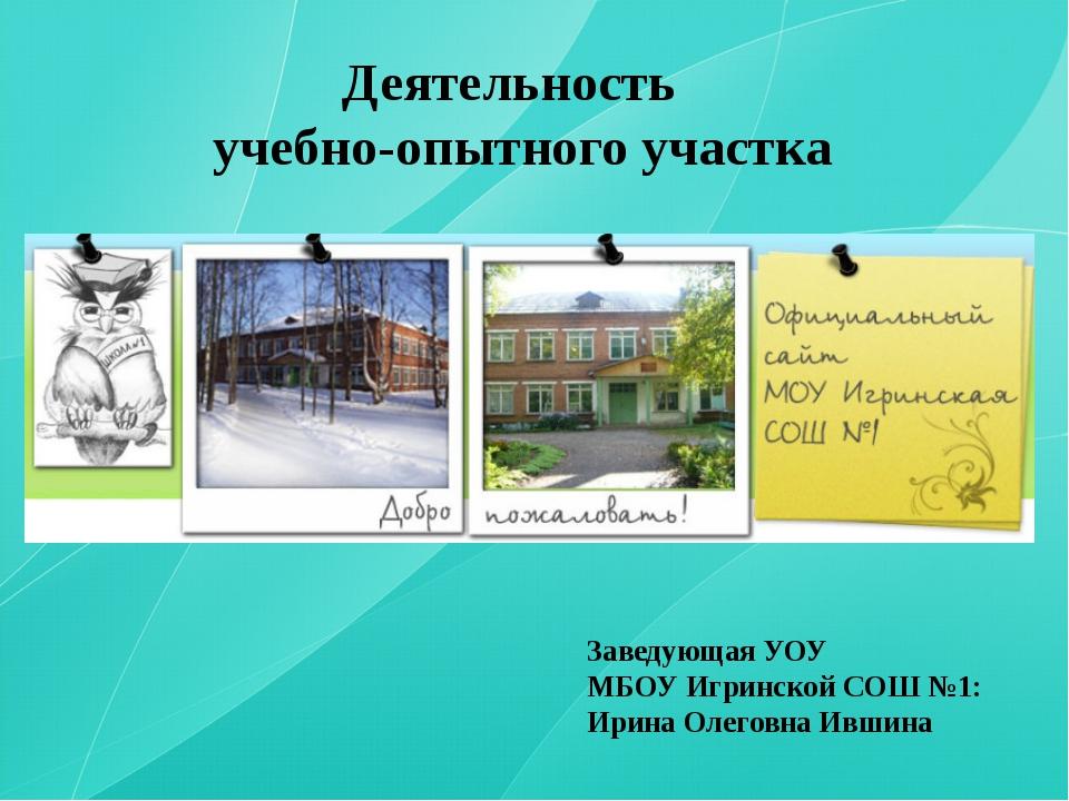 Деятельность учебно-опытного участка Заведующая УОУ МБОУ Игринской СОШ №1: И...