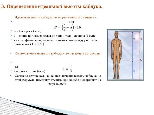 Идеальная высота каблука по теории «золотого сечения». , где L - Ваш рост (в...