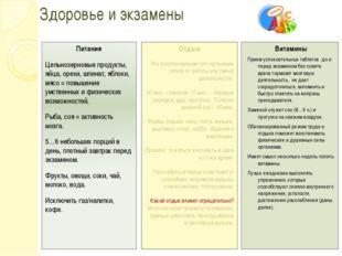 Здоровье и экзамены Питание Цельнозерновые продукты, яйца, орехи, шпинат, ябл