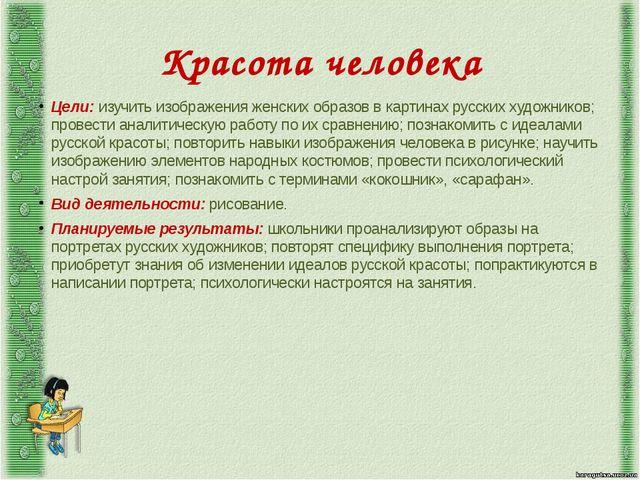 Красота человека Цели: изучить изображения женских образов в картинах русских...