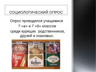 Опрос проводился учащимися 7 «а» и 7 «б» классов среди курящих родственников,