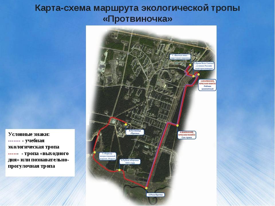 Карта-схема маршрута экологической тропы «Протвиночка» Условные знаки: ------...