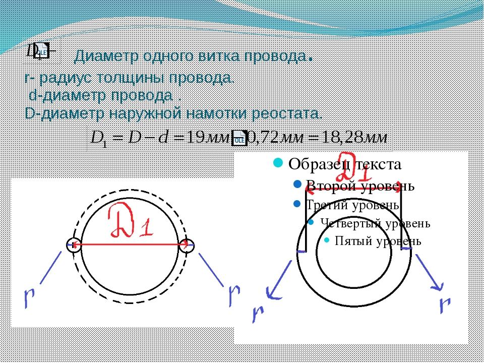 Диаметр одного витка провода. r- радиус толщины провода. d-диаметр провода ....