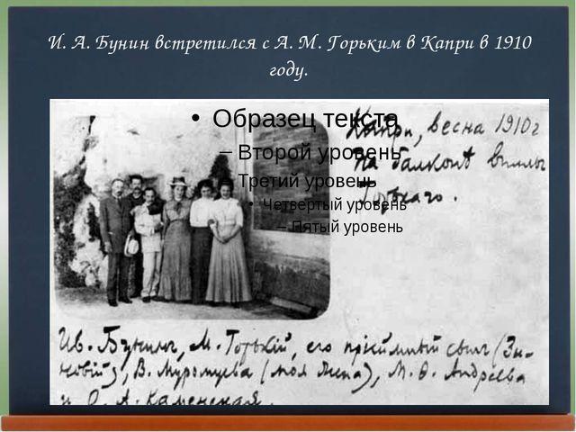 И. А. Бунин встретился с А. М. Горьким в Капри в 1910 году.