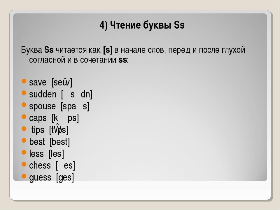 4) Чтение буквы Ss Буква Ss читается как [s] в начале слов, перед и после глу...