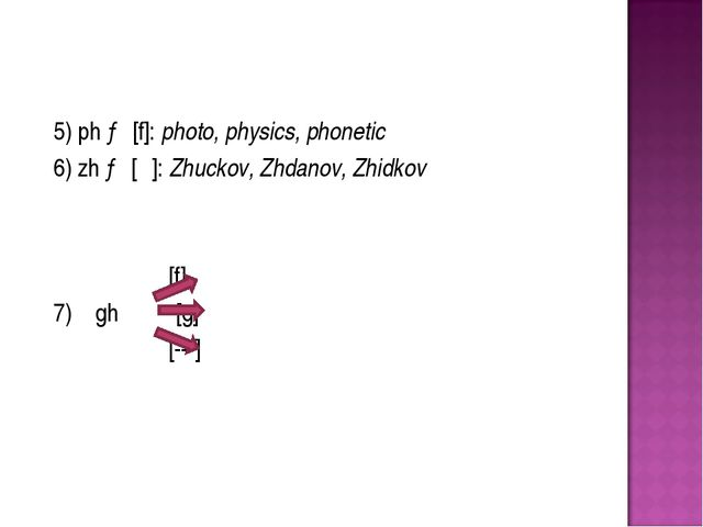 5) ph → [f]: photo, physics, phonetic 6) zh → [ʒ]: Zhuckov, Zhdanov, Zhidk...