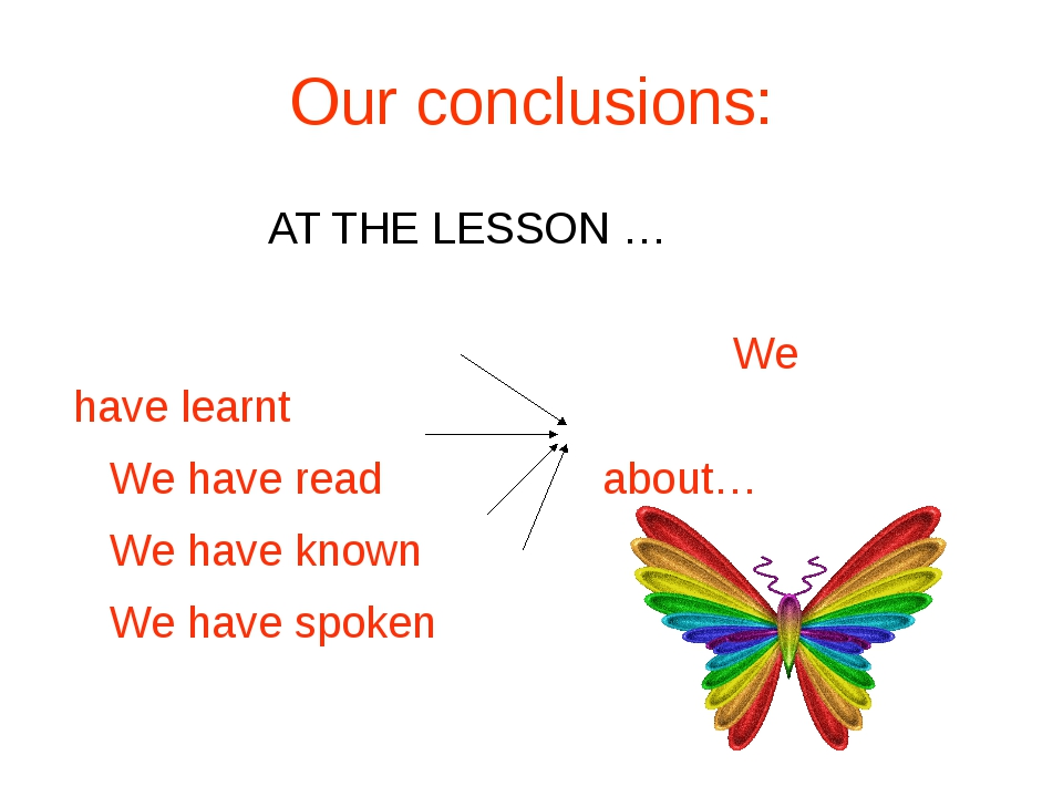Our conclusions: AT THE LESSON … We have learnt We have read about… We have...