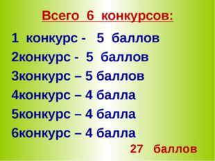 Всего 6 конкурсов: 1 конкурс - 5 баллов конкурс - 5 баллов конкурс – 5 баллов
