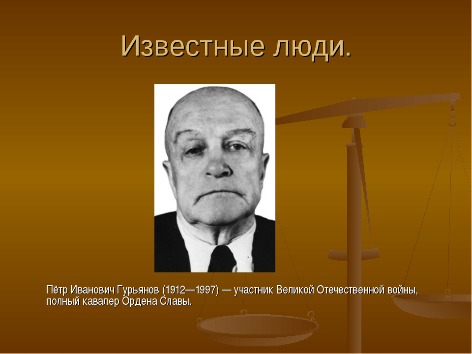 Известные люди. Пётр Иванович Гурьянов(1912—1997)— участник Великой Отечес...