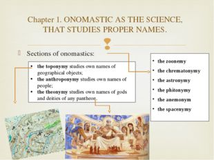 Sections of onomastics: the toponymy studies own names of geographical object