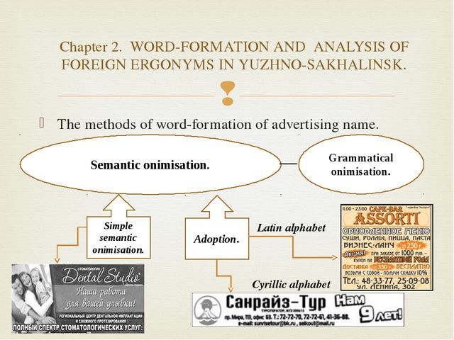The methods of word-formation of advertising name. Semantic onimisation. Gram...
