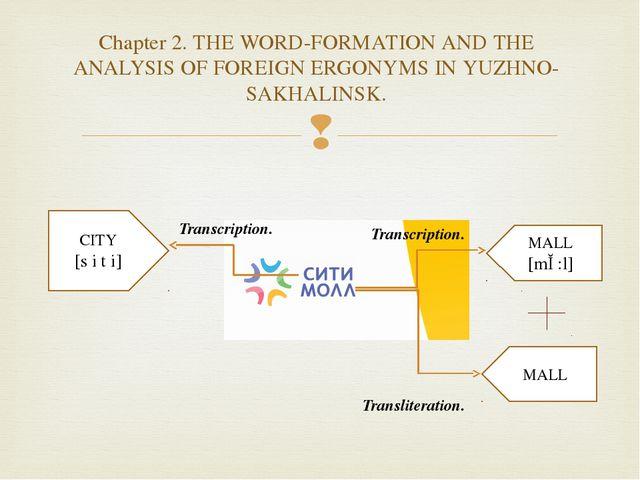 CITY [s i t i] MALL [mɔ:l] MALL Transcription. Transcription. Transliteration...