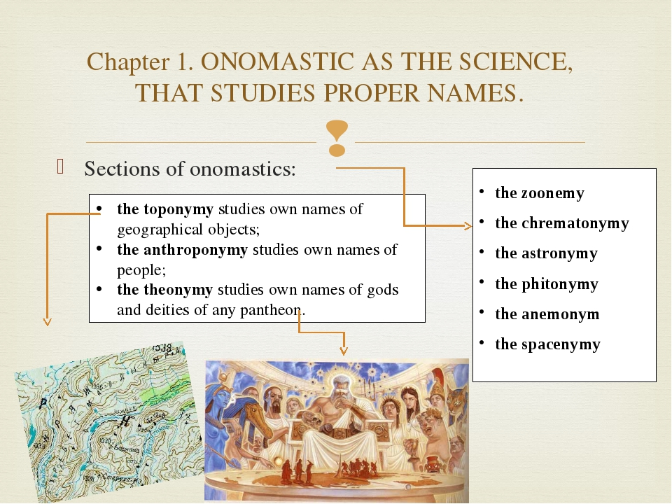 Sections of onomastics: the toponymy studies own names of geographical object...