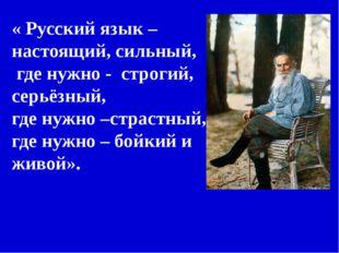 « Русский язык – настоящий, сильный, где нужно - строгий, серьёзный, где нужн