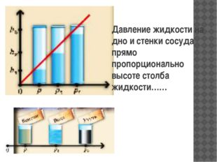 Давление жидкости на дно и стенки сосуда прямо пропорционально высоте столба