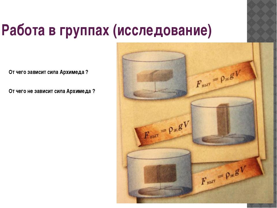 Работа в группах (исследование) От чего зависит сила Архимеда ? От чего не за...