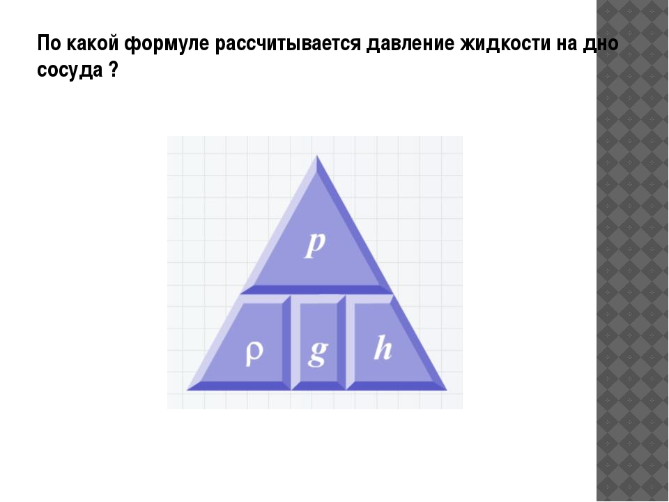 По какой формуле рассчитывается давление жидкости на дно сосуда ?