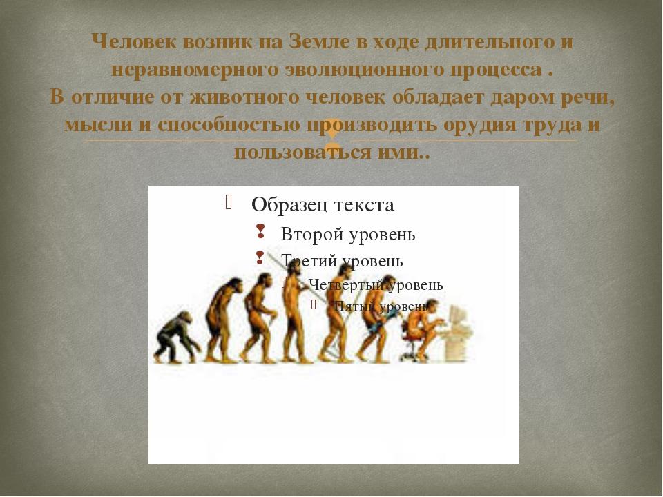 Человек возник на Земле в ходе длительного и неравномерного эволюционного про...