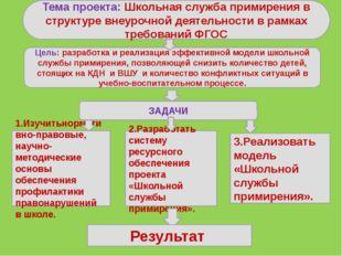 Тема проекта: Школьная служба примирения в структуре внеурочной деятельности