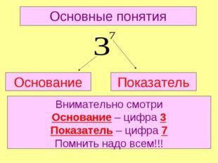 Основные понятия Основание Показатель Внимательно смотри Основание – цифра 3