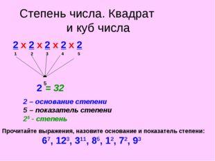 Степень числа. Квадрат и куб числа 2 х 2 х 2 х 2 х 2 1 2 3 4 5 5 2 = 32 2 –